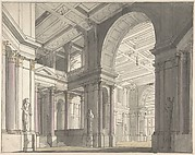 Design for a Stage set Showing the Interior of a Palace (recto); Architectural Sketch (verso)