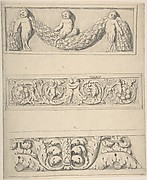 Three Frieze Designs with Young Satyrs, Leaves, Vines, and Putti