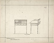 Front and Side Views of Writing Desk