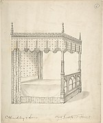Design for a Gothic Bed with Canopy