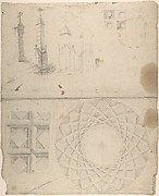 Design for coffered cupola interior and monuments (recto); details of wall decoration (verso)