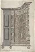 Design for a Concave Corner Cabinet (Possibly Part of a Larger Wall-Covering Unit)