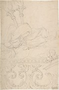 Ornament with Two Torches, a Spindle and Flax above a Rinceau of Doves with Sacred Hearts