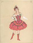 Costume Design for Female Dancer (recto); Costume Sketch (verso)