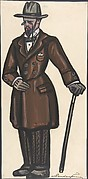 Man wearing a brown overcoat, cane and pince-nez