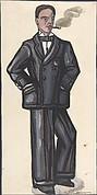 Man in a black suit, smoking