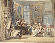 Scene of Dutch Interior with Family and Guest