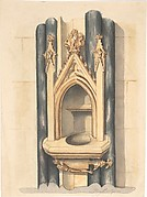 Design for baptismal  font set between paired Purbeck marble columns
