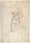 Lady Holding a Book (recto); Plan of Placing Colors on a Palette (verso)