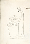 Study of Two Figures: One Seated, the Other Standing (recto); Study of a Head Looking Upwards (verso)