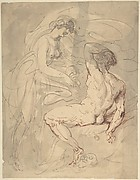 Woman Talking to a Seated Male Nude