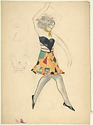 Female dancer in cubist costume holding a knife