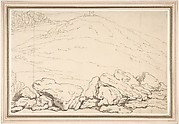 Hilly landscape with rocks