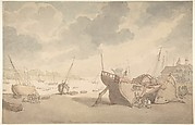 Harbor scene with tide out; beached boats