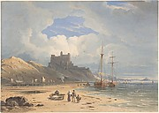 Bamborough Castle from the Northeast, with Holy Island in the Distance, Northumberland