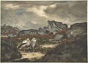 Herons in Landscape