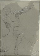Seated Male Nude (recto); Crouching Male Nude (verso)