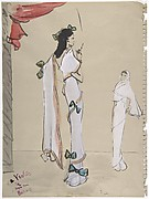 Design for a Full-length White Evening Dress, Shown in Two Views