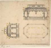 Design for a Bath in the Form of an Elongated Polygonal Temple, Plan and Two Elevations