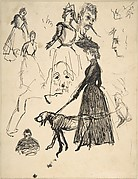 (r) Sketches of Andr&#233;e Bonnard, the dog Ravageau, Claude Terrasse and, at lower left, the artist, himself, c. 1889; (v) A Grass Hut before a Wattled Fence