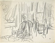 A Man with a Moustache Seated in a Dining Room