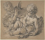 Winged Putti with Flowers