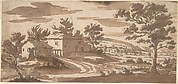 Landscape with Buildings and a Town in the Distance (recto); Study of a Building (verso)