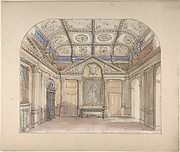 Interior with coffered ceiling and Corinthian order applied to walls