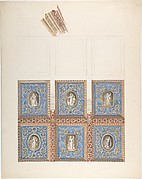 Carved and Painted Ceiling with Six Figural Medallions, for Cleish Castle