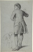 Study of a standing man knocking; sketch of a sitting man
