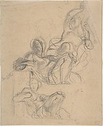 Sheet of figure studies: two studies of a reclining figure, and a seated figure holding a lyre (?).