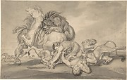 Lions Attacking Two Men and a Horse