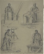 Four drawings showing the manufacture of saws