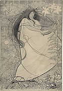 Girl in a Flowing Dress Surrounded by Roses and Lilies