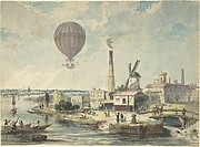 Mr. Green in the Albion Balloon, Having Ascended from Vauxhall, 1842
