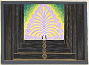 "Stage Set Design with Lavender, Yellow and Green Plumes at Top of Black and Gold Stairs for ""Les Spectacles,"" George White's Scandals, New York"