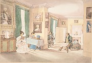 Interior with Three Men and Two Women