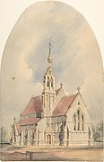 Architectural Rendering of a Gothic Revival Church