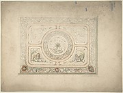 Design for a Ceiling with Lion and Lioness