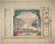 Wall Design with a Trompe l'Oeil Balcony Overlooking a Mountainous Harbor