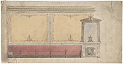 Design for Wall including Chimney and Red Banquette