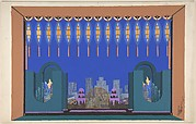 "Design for Stage Set, City Skyline Seen Beyond Terrace, for ""Manhattan Mary,"" Majestic Theater, New York"