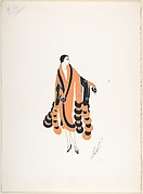 Design for Orange and Black Coat Trimmed in Fur with Cobra Heads at Sleeve Cuffs  for