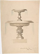 Design for a Fountain with Two Basins (recto); Another design (verso)