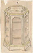 Design for an Octagonal Cabinet with Glass Doors and Shelves