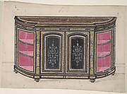 Cabinet Design with Black Doors and Red Interior