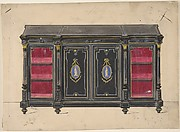 Cabinet Design with Porcelain Plaques and Red Interior