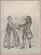 """Design for a Scene in de Laujon's """"L'Amoureux de quinze ans, ou la Double-Fête..."""""""