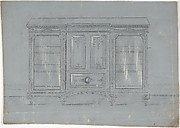 Design for a Cabinet with Glass Side Doors and a Porcelain Plaque