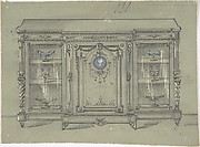 Design for a Cabinet with Glass Doors and a Porcelain Plaque